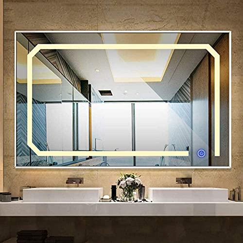 NMDCDH Espejo de baño Moderno Integrado con iluminación LED, Marco Rectangular de Aluminio, Interruptor táctil + Fuente de alimentación Impermeable Ip67