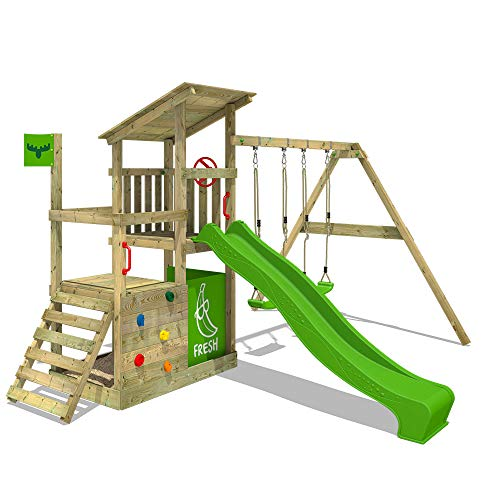 FATMOOSE Parque infantil de madera FruityForest con columpio y tobogán manzana verde, Torre de escalada de exterior con arenero y escalera para niños