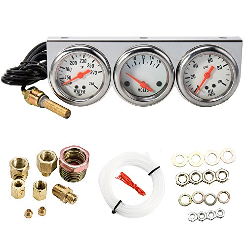 WarmCare Triple Gauge Kit Oil/Volt/Water Gauge 2' Chrome Oil Temp Water Temp Gauge Temperature Oil Pressure Voltage Gauge Sensor 3 in 1 Car Meter Auto Gauge
