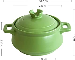 HAOT Mini cazuela de cerámica Olla de Barro Resistente al Calor Olla de Barro de Color Caramelo con Dos Mangos Utensilios de Cocina Modernos con Tapa para Restaurante de Cocina 2-3 Personas-3.5lv