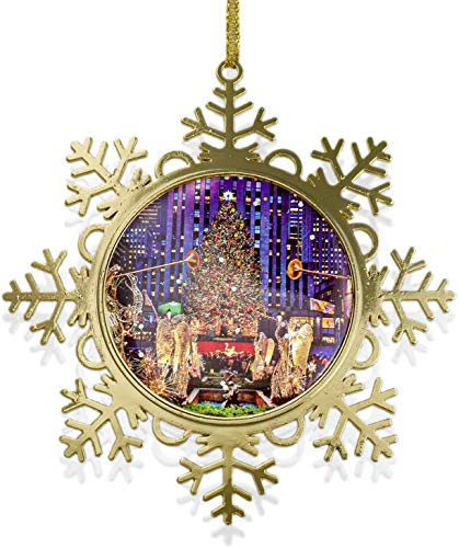 New York Ornament Rockefeller Center Christmas Tree Snowflake Metal Ornament 4 inch w Gold Gift Box. Christmas in NYC Collection