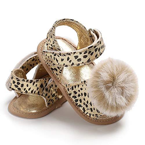 Peanutaod Frühlings-Sommer-Baby-Kleinkind-Schuh-Leopard-Druck-Sandelholze mit Pompon-Dekoration-beiläufigen weichbesohlten Prinzessin-Schuhen