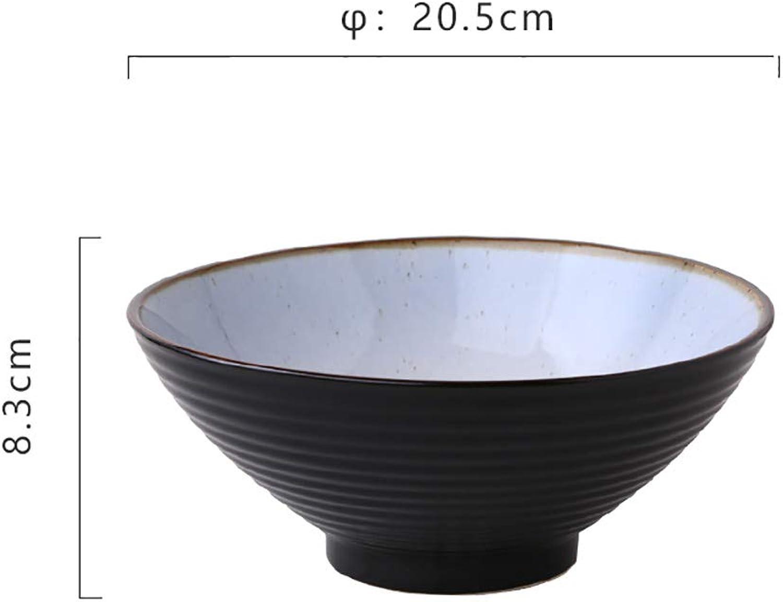 Céramique grande capacité Salade de fruits Bol de pates Soupe créative RaHommes bol Micro-ondes Safe Mix Bol de service 7,5 pouces (Couleur   noir, Taille   3PCS)