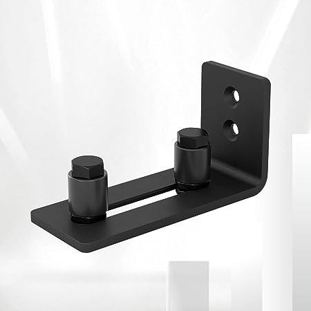 Sliding Barn Door Floor Guides, Black Adjustable Wall Mount Roller Guide Hardware, Flush Flat Bottom Design, Easy to Install