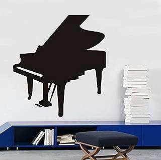 dferh Wall Sticker Living Room Decoração Da Parede Mural Musical Instruments Piano Preto Silhueta Adesivos De Parede PVC Home Decor Removível À Prova D Água58X64Cm