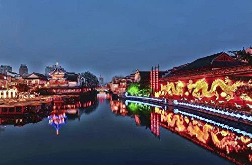 Jkykpp olieverfschilderij, digitaal, knutselen, nachtzicht, confuzius-stempel, cadeaus voor de decoratie van het huis, 40 x 50 cm