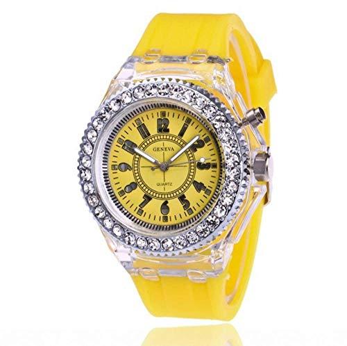 Relojes para Niña,Colorido LED LIGNO Reloj DE Manera DE Moda NIÑOS Tabla DE Flosh Mesa DE SILICONO Diamante Reloj DE Pares-Amarillo