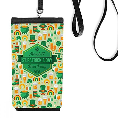Vier Blad Klaver Bier Vlag Boot Baard Regenboog Ierland St.Patrick's Day Faux Leer Smartphone Ophangtas Zwart Telefoon Portemonnee Gift