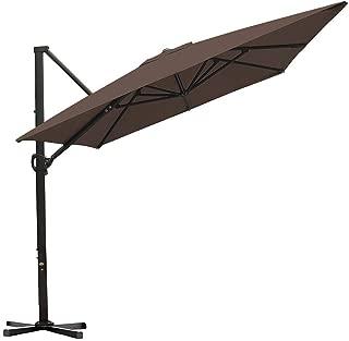 Abba Patio Rectangular Offset Cantilever Patio Umbrella with Crank Lift Tilt and Cross Base, 8 x 10 Feet, Cocoa