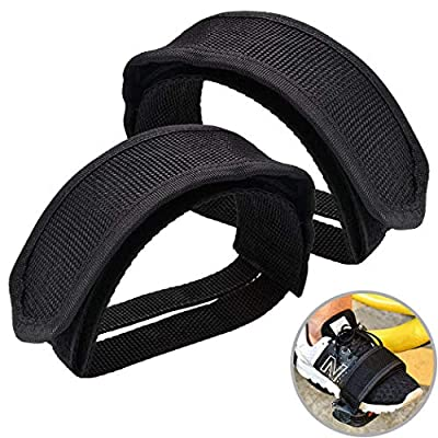 Fansport Bicycle Feet Strap, 2-Piece Bike Pedal Straps for Fixed Gear Bike Foot Strap Pedal Toe Clips Straps Tape for Spinning Exercise Cycle Home or Gym (Black)