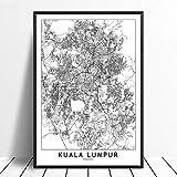Leinwanddruck,Kuala Lumpur Schwarz Weiß Benutzerdefinierte