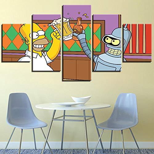 Swelteamm Sztuka ścienna ramka 5 sztuk The Simpsons pijący piwo kreskówka film płótno obraz dekoracja dom bar kuchnia HD zdjęcie plakat - rama_20 * 35 + 20 * 45 + 20 * 55
