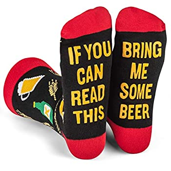 If You Can Read This Bring Me Some - Funny Novelty White Elephant and Secret Santa Gift Socks For Men and Women  Beer