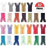 Cremalleras de Colores 26 Colores Mixtos Cremalleras de Nylon,Cremalleras de Costura,52 pcs Cremalleras de Nylon de 20cm para Costurar Almohadas, Carteras y más