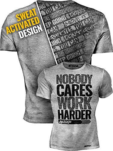 Actizio Sweat Activated Funny Motivational Workout Shirt, Nobody Cares - Work Harder (Athletic Heather, XXXL)