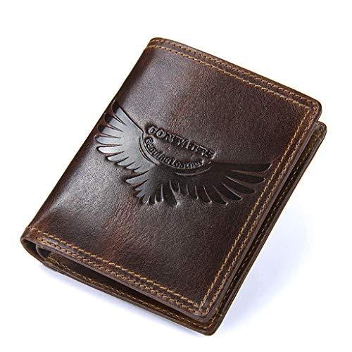 Huahua Wallet Carteras Hombre, Monedero de Cuero con Tapa Superior de Cuero para Hombre Múltiples Tarjetas con Cremallera Monedero marrón de Gran Capacidad (Color : Marrón)