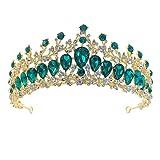 LLLucky Crown Rhinestone Wedding Tiaras para Fiesta de Disfraces Accesorios para el Cabello con Gemstone Green