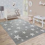 Paco Home Kinderteppich, Moderner Kinderzimmer Teppich in Pastell Farben m.Stern Motiven, Grösse:120x170 cm, Farbe:Taupe