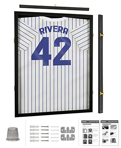 Jersey Frame Display Case Large Jersey Shadow Box Lockable with UV Protected Acrylic Hanger and Wall Mount Option for Football Basketball Baseball Hockey Sport Shirt Jersey Display Frame Black