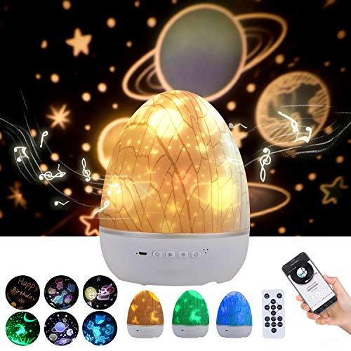 Lightess Lámpara Proyector Estrellas Infantil Música Altavoz Bluetooth 360° Rotación Proyector Estrellas...