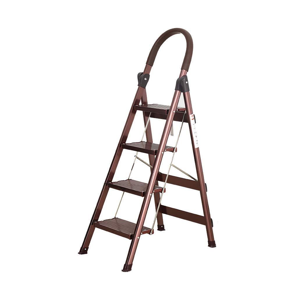 HANHANGYUANDA Escalera-Escalera De Aluminio Aleación Gruesa Escalera Plegable Inicio Espiga Telescópica Escalera Interior Ingeniería Escaleras, Teniendo Peso 150Kg Escaleras,Gold,71 * 47 * 150Cm: Amazon.es: Hogar