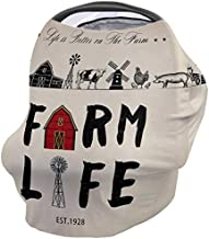 Breastfeeding Nursing Cover Multi Use for Baby Car Seat Life is Better On The Farm Western American Style Stretchy Breathable Scarf Shawl for Stroller High Chair Shopping Cart Canopy for Boys Girls