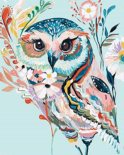 Diamond Painting Animals, Colorful Flowers Cute Owl Diamond Painting Kits for Adults and Kids 5D DIY Full Drill Stitch Diamond Painting by Numbers Craft Decoration (1216inch)