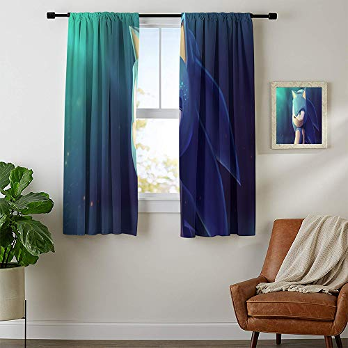 Grommet Blackout Curtains, Sonic The Hedgehog Blaze The Cat Curtains for child bedroom, Window Curtain Drape W63 x L63 Inch