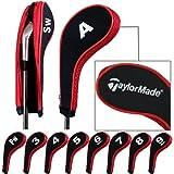 Taylormade número imprimir funda con cremallera para hierros de golf con cuello largo 10pcs/set negro/rojo MT/TL03