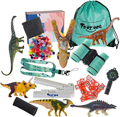 TaoZone Explorer Kit with Binoculars Microscope Nature Adventure Explorer Kit for Kids Camping Accessories with Backpack Compass Whistle Slingshot Dinosaur Models Educational Toys Indoor Outdoor