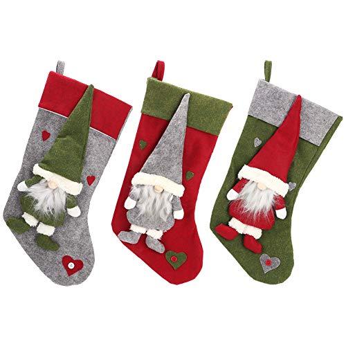 Wifehelper 3 stks kerst kousen, gezichtsloze pop kerst Sock Bag kerst kousen ornamenten snoep Gift Bag Xmas Party Thuis opknoping Decoratie