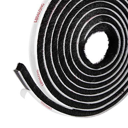 Selbstklebende Bürstendichtung Fenster Dichtungsbürste 4.9m(L) x9 mm(B) x 9mm(D) Bürstendichtung hochdichter Filz-Zugluft-Exzenter für Schiebetüren und Garderobe, Dichtungsband (Schwarz)
