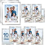Icona Bay Combo-Sizes Silver Picture Frames Set - 10 PC (Four 4x6, Four 5x7, Two 8x10), Noble Collection Multi-Pack, Modern Professional Design for Wall Gallery