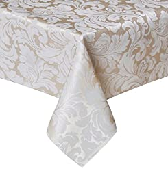 in budget affordable Tektrum Heavy Duty 60x 102 inch Rectangular Damask Jacquard Tablecloth Tablecloth –…