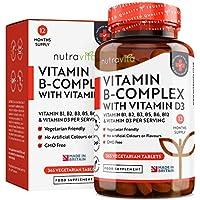 Vitamina B Complex con Vitamina D - 365 Tabletas Vegetarianos (Suministro para 365 Días) - Dosis Altas de 8 Formas de Vitaminas B y Vitamina D3 - Elaborado en el Reino Unido por Nutravita