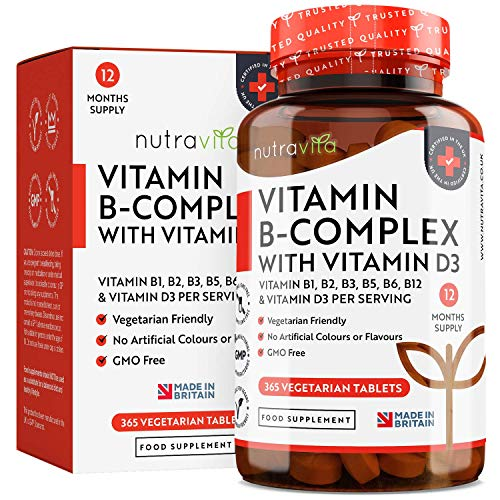 Vitamin B Complex 1 Year Supply Enriched with Vitamin D - Vegetarian Tablets - 8 Bio-Available Forms of High Strength B Vitamins Including Biotin, VIT B1 B2 B3 B5 B6 B12 - Made in The UK by Nutravita