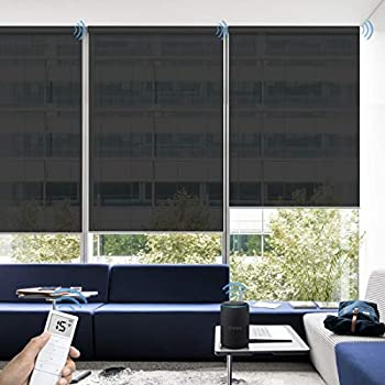 Graywind Motorized Solar Shades 5% Openness Compatible with Alexa Google Remote Electric Window Shade Fireproof Smart Roller Blinds with Valance for Home Office Patio Custom Size  Black