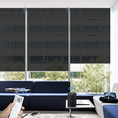 Graywind Motorized Solar Shades 5% Openness Compatible with Alexa Google Remote Electric Window Shade Fireproof Smart Roller Blinds with Valance for Home Office Patio, Custom Size (Black)