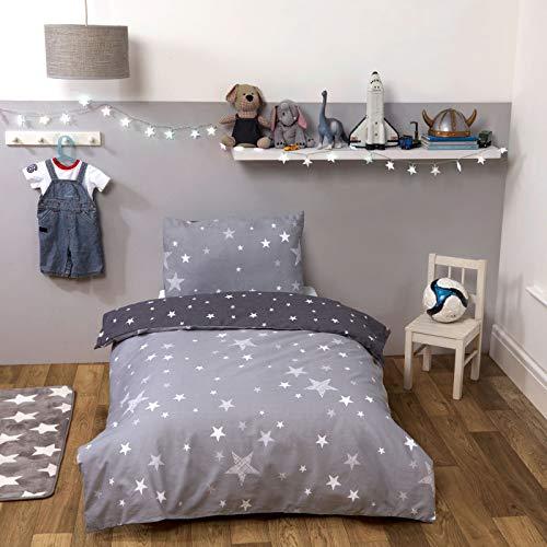 Dreamscene Parure de lit réversible avec Housse de Couette et taie d'oreiller pour Enfant Motif étoiles Gris argenté Simple