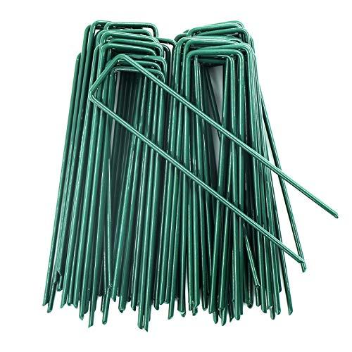 AGAKY 50 Grapas en Forma de U para Jardín, Césped Artificial, Estacas de Fijación paraTelas y Mallas, Verde del Clavo de Metal Galvanizado