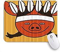 ZOMOY マウスパッド 個性的 おしゃれ 柔軟 かわいい ゴム製裏面 ゲーミングマウスパッド PC ノートパソコン オフィス用 デスクマット 滑り止め 耐久性が良い おもしろいパターン (絵文字幸せなネイティブアメリカンの豚の女性は秋を着ています。)