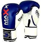 Maxx Blue/White boxing gloves Junior kids & adult sizes Rex leather 4oz