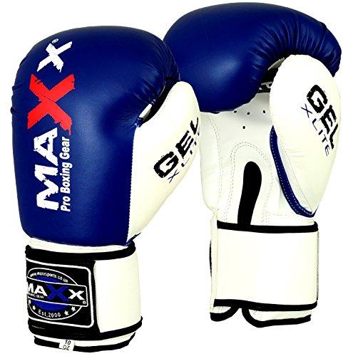 Maxx BlueWhite boxing gloves Junior kids adult sizes Rex leather 4oz 16oz 8oz