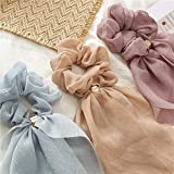 3 elegantes Scrunchies con lazo de doble capa | varios colores | bonito accesorio | Scarf Scrunchie