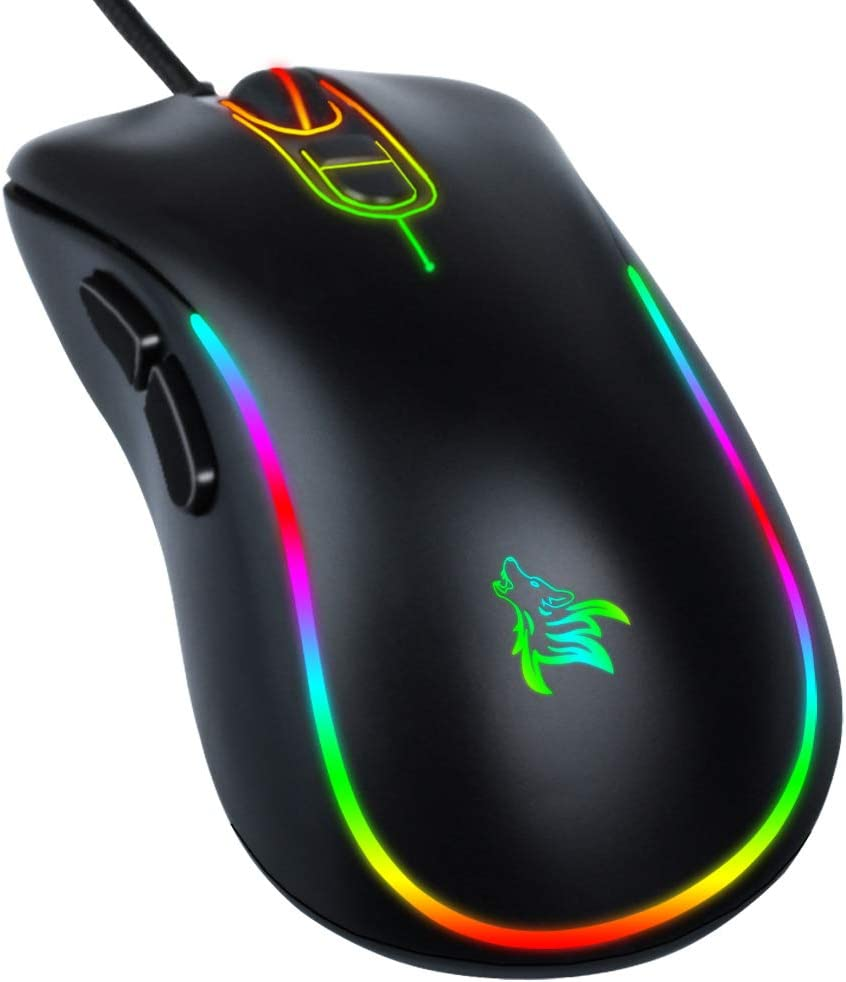 Wired Mouse,Computer Mouse Ergonomic,USB Computer Mice with Optical Backlit -6400 DPI -7 Buttons Premium and Portable Office and Home Mice,USB Mouse for Computers,laptops Windows PC, Desktop,Notebook