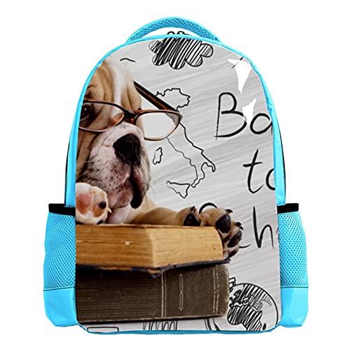 YATELI Mochila ligera para la escuela,Perro con gafas de lectura , Mochila informal clásica básica resistente al agua para viajes con bolsillos laterales para botellas