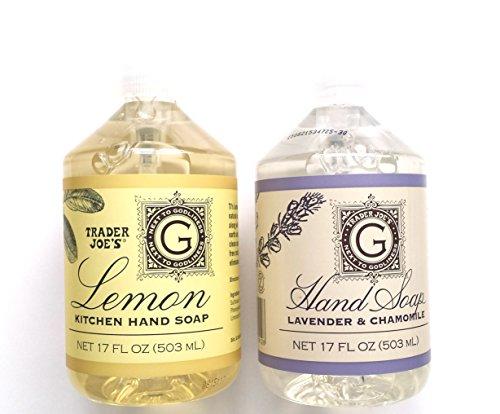 Trader Joe's Hand Soap Bundle: Lemon Kitchen Hand Soap 17 Oz and Lavender and Chamomile Hand Soap