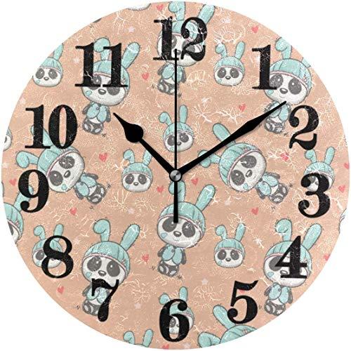 gardenia store - Reloj de Pared clásico y Dulce con diseño de Oso Panda (sin Tic TAC, Mecanismo de Cuarzo)