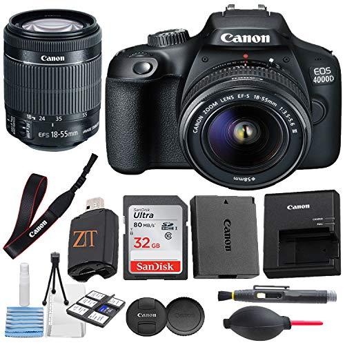 Canon EOS 4000D / Rebel T100 DSLR Camera w/ 18-55MM DC III Zoom Lens with Accessory Bundle + SanDisk 32GB Memory Card + Hi-Speed USB Card Reader + Deluxe Starter kit (16 pcs Bundle)