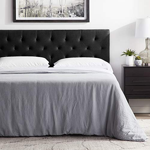 """LUCID Mid-Rise Upholstered Headboard-Adjustable Height from 34"""" to 46"""" Platform, Queen, Black"""